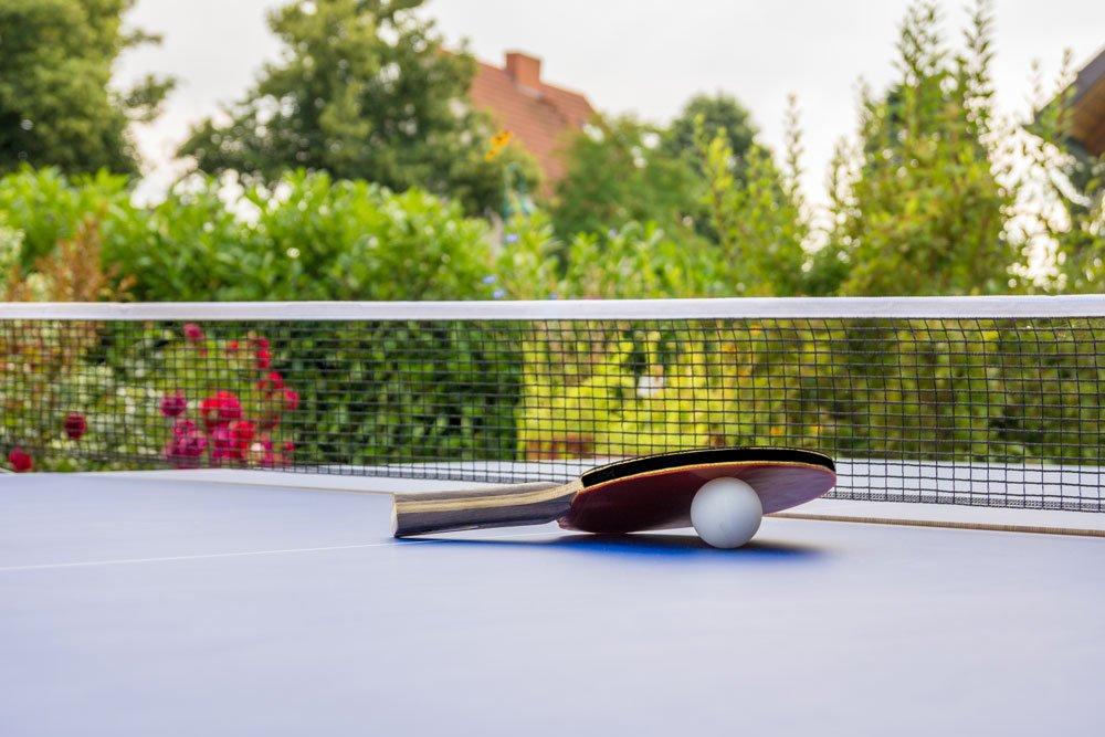 Tischtennisplatte im Garten